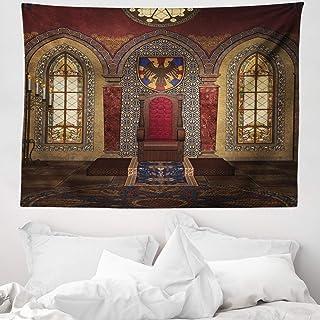 ABAKUHAUS Gótico Tapiz de Pared y Cubrecama Suave, Trono Rojo Medieval en Capilla Retrato de Águila Antiguo Edificio de Fantasía, Estampado Digital Vívido, 150 x 110 cm, Marrón