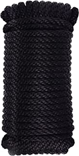 MICASA Utility Rope Paracord Nylon Twine - 12 Strands Diamond Solid Braided, 100% New polypropelene Braided,3/8'' by 75ft, Hank Package, Working Capacity: 700Lbs, Black Color
