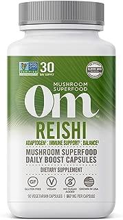 Om Organic Mushroom Nutrition Reishi Mushroom Superfood Daily Boost Capsule, 90 Count