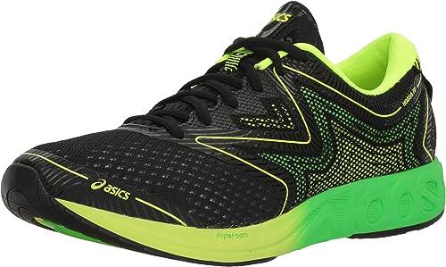 Asics T722N.9085 Hauszapatos de Running, 10 de Reino Unido Hombre negro verde del Gecko amarillo Seguridad 10 Reino Unido