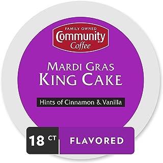 Community Coffee Mardi Gras King Cake Flavored Medium Roast Single Serve 18 Ct Box, Compatible with Keurig 2.0 K Cup Brewers, Medium Full Body Hints of Cinnamon and Vanilla, 100% Arabica Coffee Beans