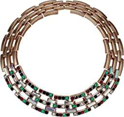 Jeweled Square Link Design Choker Necklace