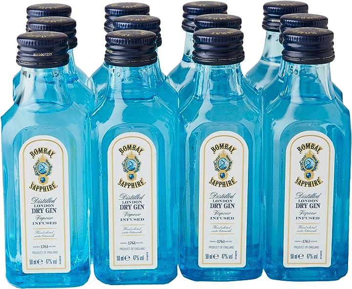 Gin bombay sapphire london dry gin, confezione da 12 mignon x5 cl 5010677710206