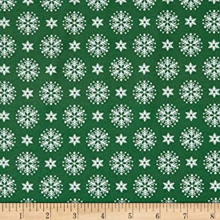 Patrick Lose Fabrics Patrick Lose Studio Santa's Stash Stacked Snowflakes Fabric, Green, Fabric By The Yard