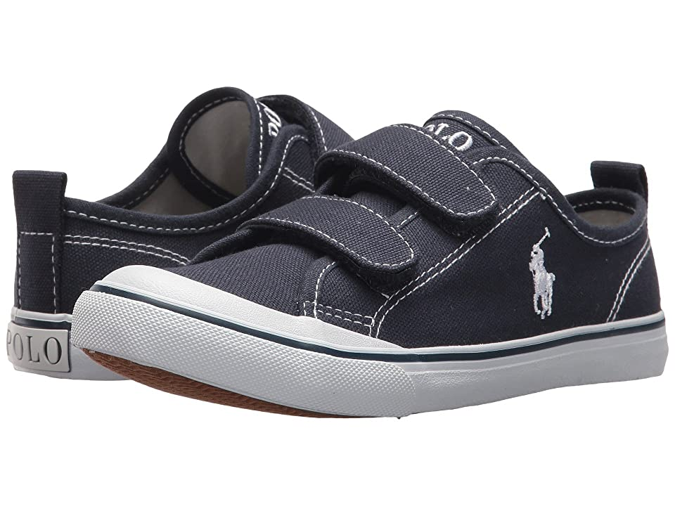 Polo Ralph Lauren Kids Karlen EZ (Little Kid) (Navy Canvas/White Pony Player) Kid