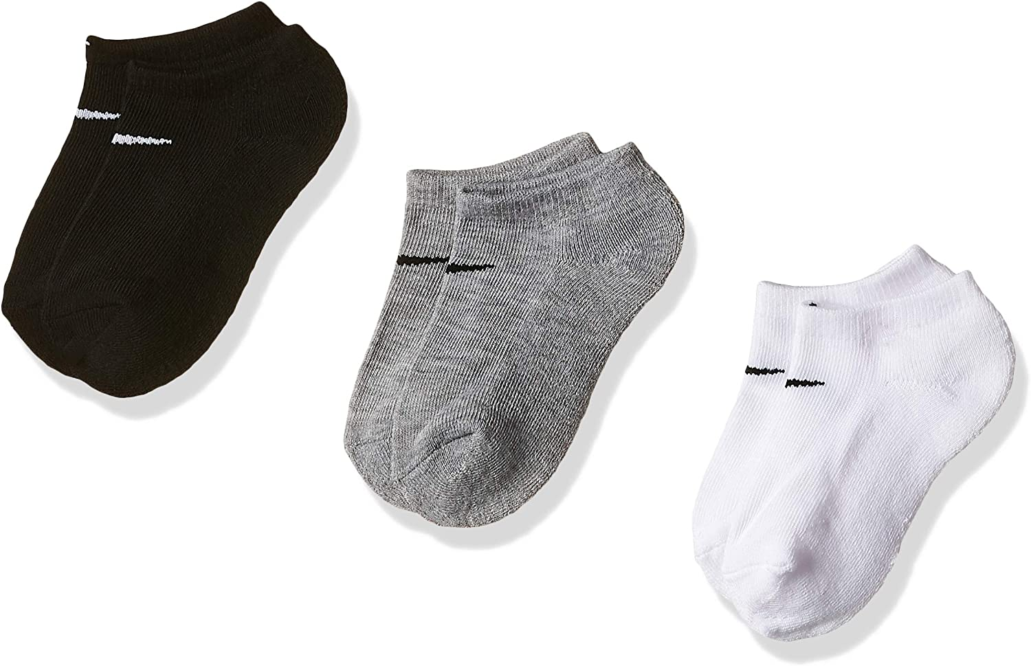 Nike Socks Toddler/Little Kid's 3-Pairs Grey Asst. No Show Sz: 5-7 Fits 10C-3Y