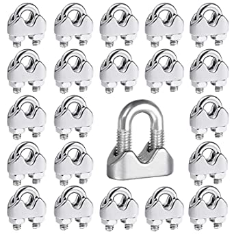 Favordrory 20pcs 1//8 Inch M3 Stainless Steel Wire Rope Cable Clip Clamp for sale online