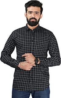 Color Play Men's Pure Cotton Slim Fit Satin Checks Casual Full Sleeves Shirt