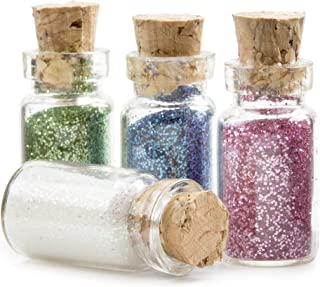 DARICE Fairydust Glass Fairy Dust Bottles with Glitter, 4 Colors.4375 x 1 inch, Multicolor