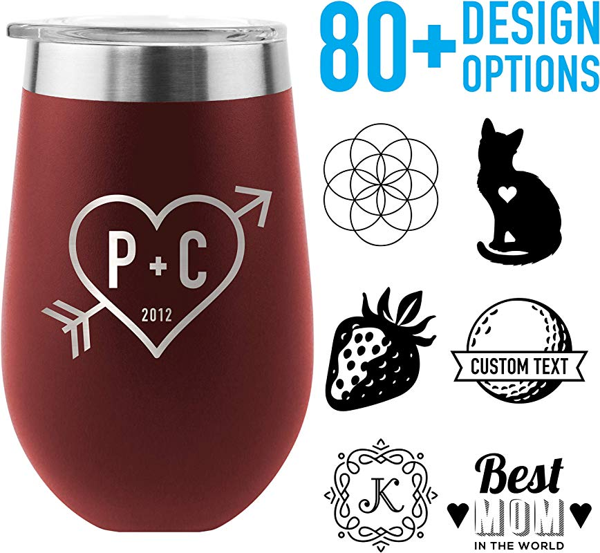 Tempercraft 12 Oz Vacuum Insulated Stainless Steel Wine Tumbler With Lid Laser Engraved Custom Options Doubled Walled Stemless Travel Wine Glass Burgundy Custom