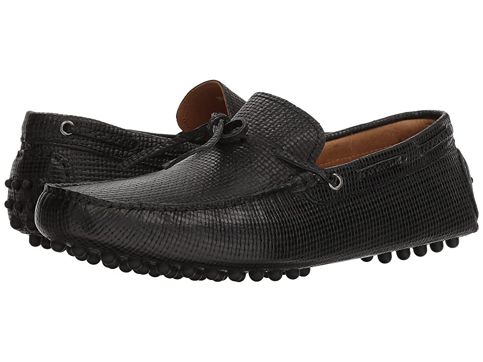Massimo Matteo Woven Stamped Leather Lace Driver (Black) Men