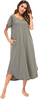 YOZLY Nightgown Womens Loungewear Cotton Knit Short Sleeve House Dress Long Nightshirt with Pockets S-XXL