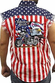 Men's USA Flag Sleeveless Denim Shirt American Pride Motorcycle Biker