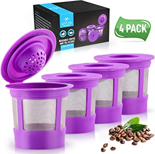 Zulay (4 pack) Reusable Coffee Pods For Keurig Coffee Makers 1.0 & 2.0 - Refillable Coffee Pod Filters For K Cup Friendly Machines - Stainless Steel Fine Mesh, Easy To Clean & Eco Friendly - Purple