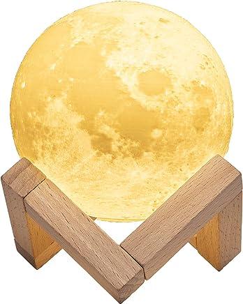 TaoTronics Lampe Lune Imprimée en 3D, Veilleuse avec 3 Modes de Couleur Chaud, Blanc Chaud & Froid, Lumière Lunaire Commande Tactile, Luminosité Réglable & Charge USB - 10cm