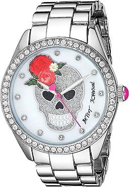 37BJ00048-263BX Silver Glitter Skull/Rose