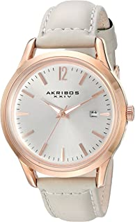 Akribos Xxiv Women's Silver Dial Leather Band Watch - Ak921Gy, Silver Band, Analog Display