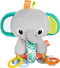 Bright Starts Explore & Cuddle Elephant Plush Activity and Teething Toy, Ages 3 Months +
