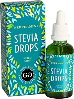 Peppermint Stevia Drops by Good Good (1.7 Fl oz / 50ml) - Sugar Free Substitute and All Natural! Diabetic F...