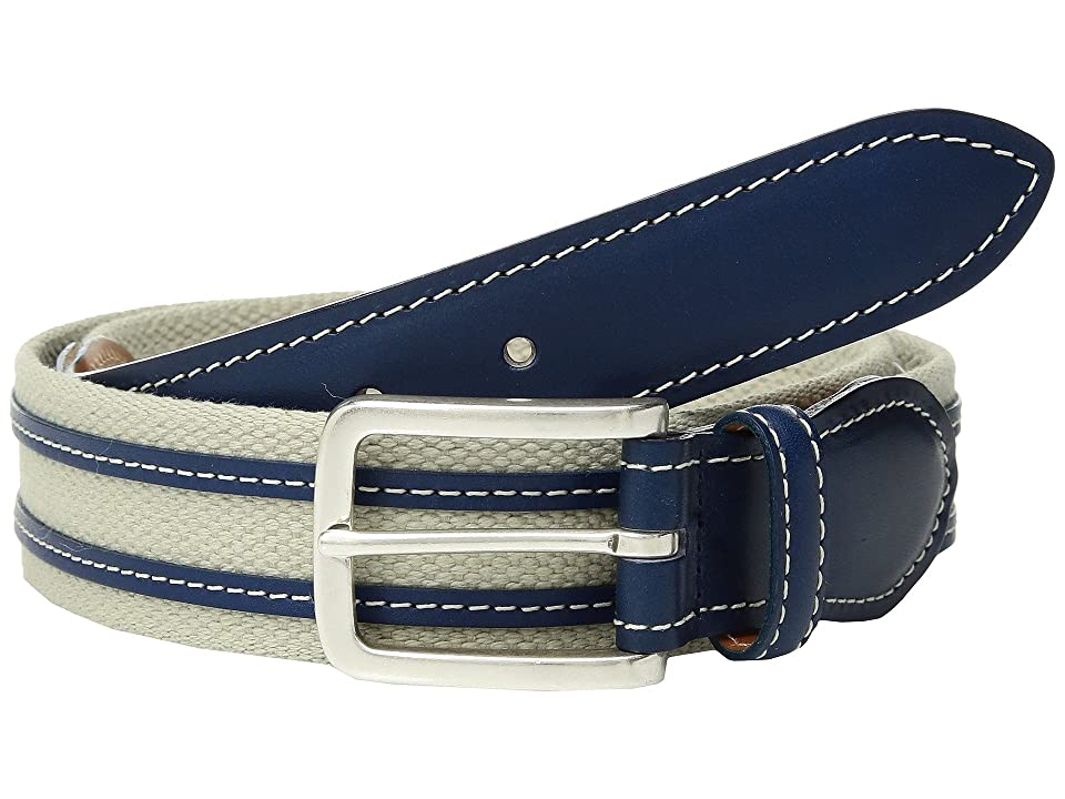 Image of Allen Edmonds Canvas Ave (Stone Canvas/Navy Leather Stripes) Men's Belts