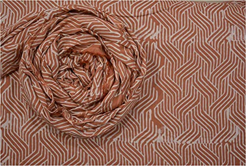 Rust Spiral Hand Block Printed Modal Cotton Voile Fabric Dress Material White Base Block Printed Voile Cloth Modal Fabrics by Yard Meter