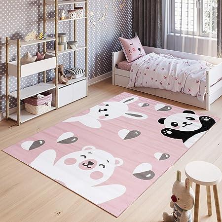 Dimension:80x150 cm Paco Home Tapis Enfant Chambre denfant Contours D/écoup/és Ferme Animaux Rose Cr/ème Pastel