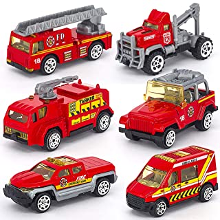 Linkaye Construction Toys Sets 6 Pieces Mini Die-cast Engineering Vehicles for Kids,Included Dumper, Bulldozers, Forklift, Tank Truck, Asphalt Car and Excavator (Firefighting 6 in 1)
