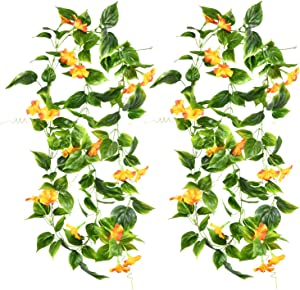 Shiny Flower 90 inch Length Artificial Vines Morning Glory Flowers Hanging Plants Fake Greenery Leaves Garden Wedding Wall Fence Arch Arrangement Stairway Hanging Baskets Decor 2 PCS (Yellow)