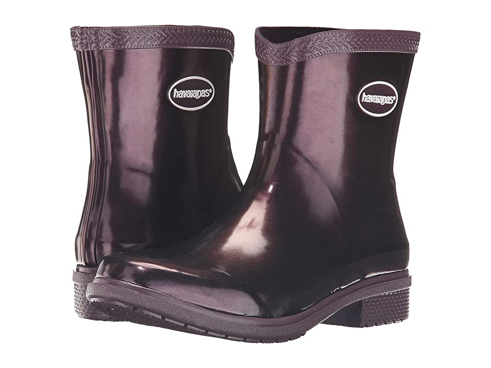 Havaianas Galochas Low Metallic Rain Boot (Aubergine Metallic) Women