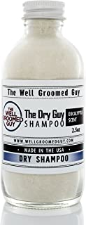 Dry Hair Shampoo For Men By The Well Groomed Guy - Premium Quality, Oil Removing Natural Formula - Eucalyptus Fresh Scent - Portable, Lightweight 120ml Glass Bottle - Quick Application - Made In The USA