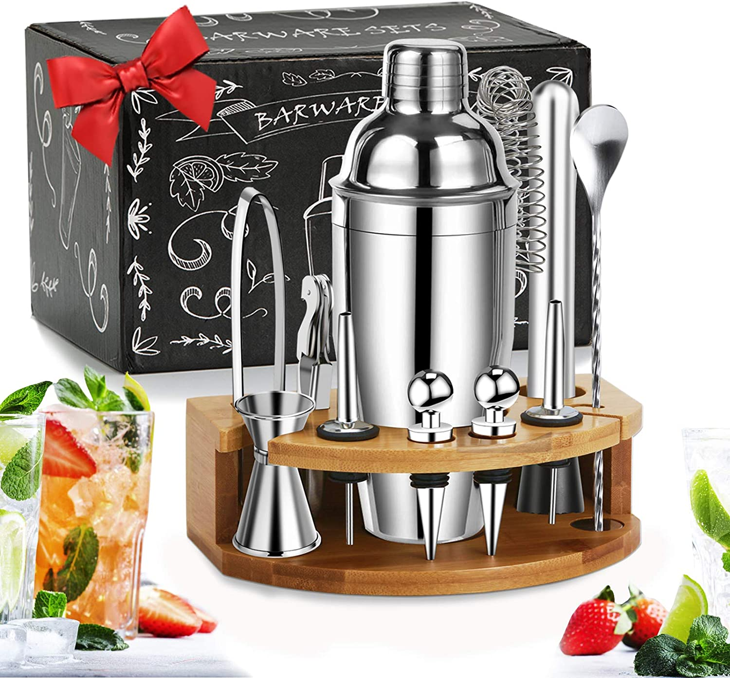 BestGK Bartender Kit Cocktail Shaker Set, Perfect Home Bartending Kit with Stylish Stand, 25oz Stainless Steel Martini Shaker with Cocktail Recipes Booklet