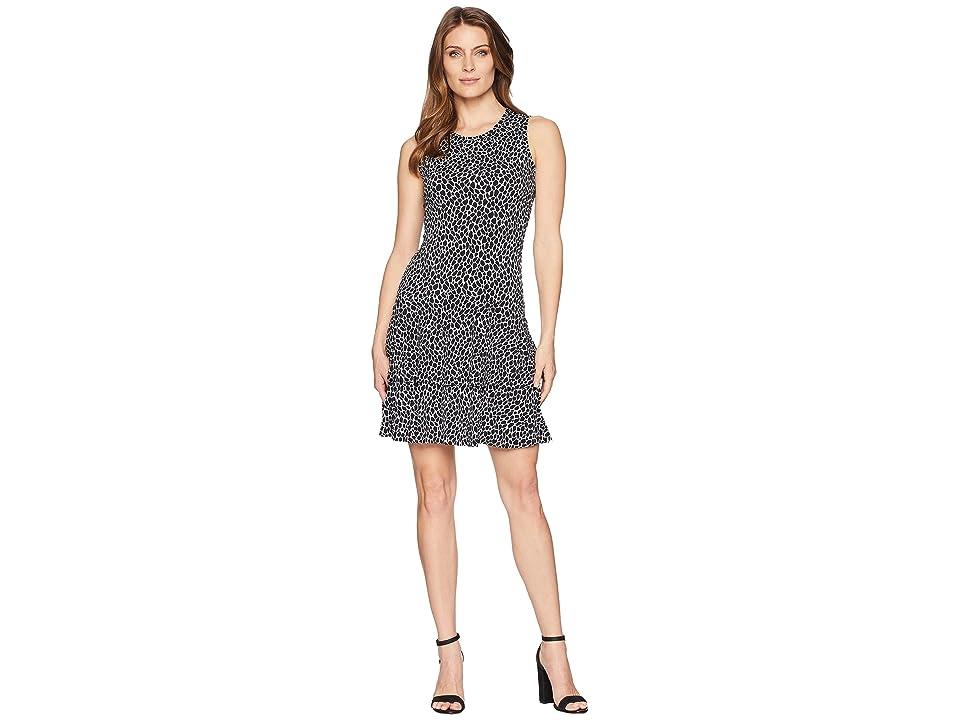 MICHAEL Michael Kors Leopard Sleeveless Flounce Dress (White/Black) Women