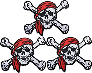 U-Sky Cool Iron on Skull and Death Crossbone Patches, 3pcs Red Scarf Skeleton Pirates Embroidered Sew-on/Iron-on Appliques Clothing Patch for Jackets/Jeans/Vest/Backpacks, Size: 3.6x3.9inch