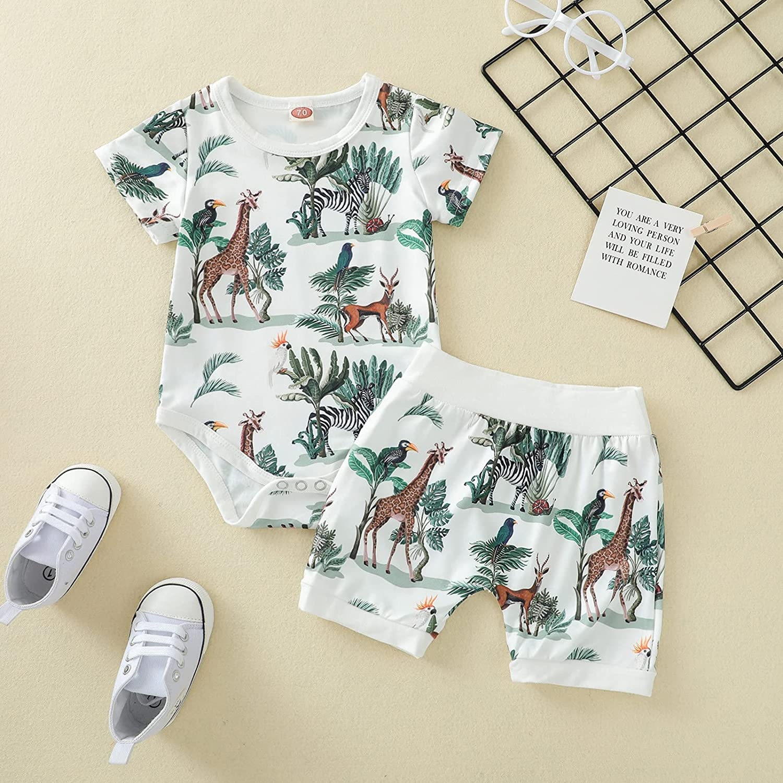 Thorn Tree 2PCS Newborn Baby Boy Clothes Set Animal Print Cotton Top Elastic Waist Shorts Summer Romper Cute Boy Outfits
