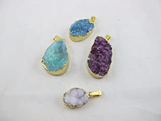 Agate Pendant Natural Druzy Agate with Gold Bezel One Hooks Set of 3 Mixed Shape Mixed Color