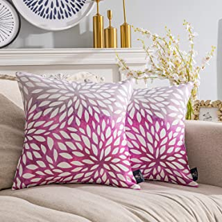 Phantoscope Pack of 2 New Living Series Gradient Petals Double Side Print Decorative Throw Pillow Case Cushion Cover, Pink, 18 x 18 inches, 45 x 45 cm