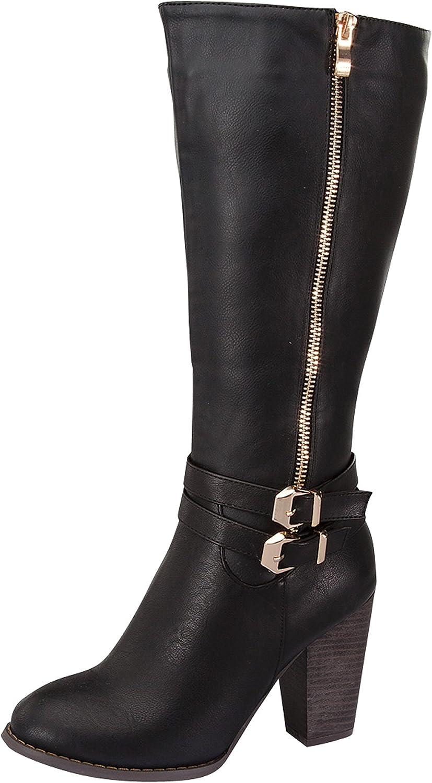 TOP Moda Women's Rex-37 Knee-High Chunky Heel Buckle Zip Riding Boot