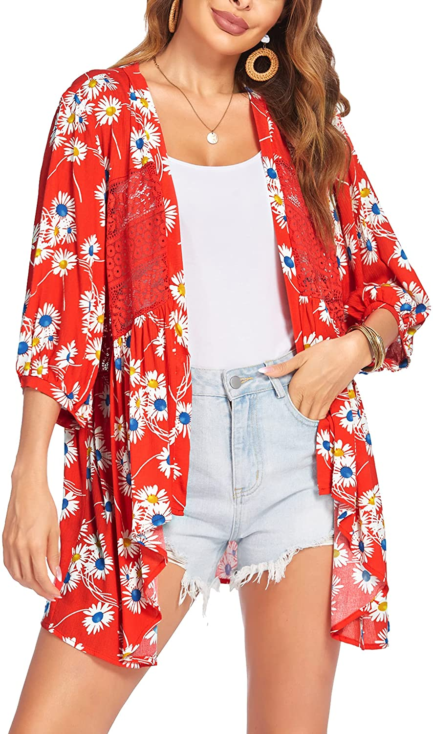 Hotouch Womens Cardigan Open Front 3/4 Sleeve Lace Lightweight Beach Summer Cover Up Tops