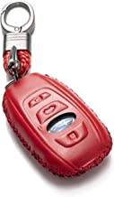 Vitodeco Subaru Leather Keyless Entry Remote Control Smart Key Case Cover with a Key Chain for 2019 Subaru Forester, Impreza, Outback, WRX, BRZ, XV Crosstrek (4-Button, Red)