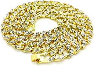Shiny Jewelers USA Mens Iced Out Hip Hop Gold Tone CZ Miami Cuban Link Chain 8