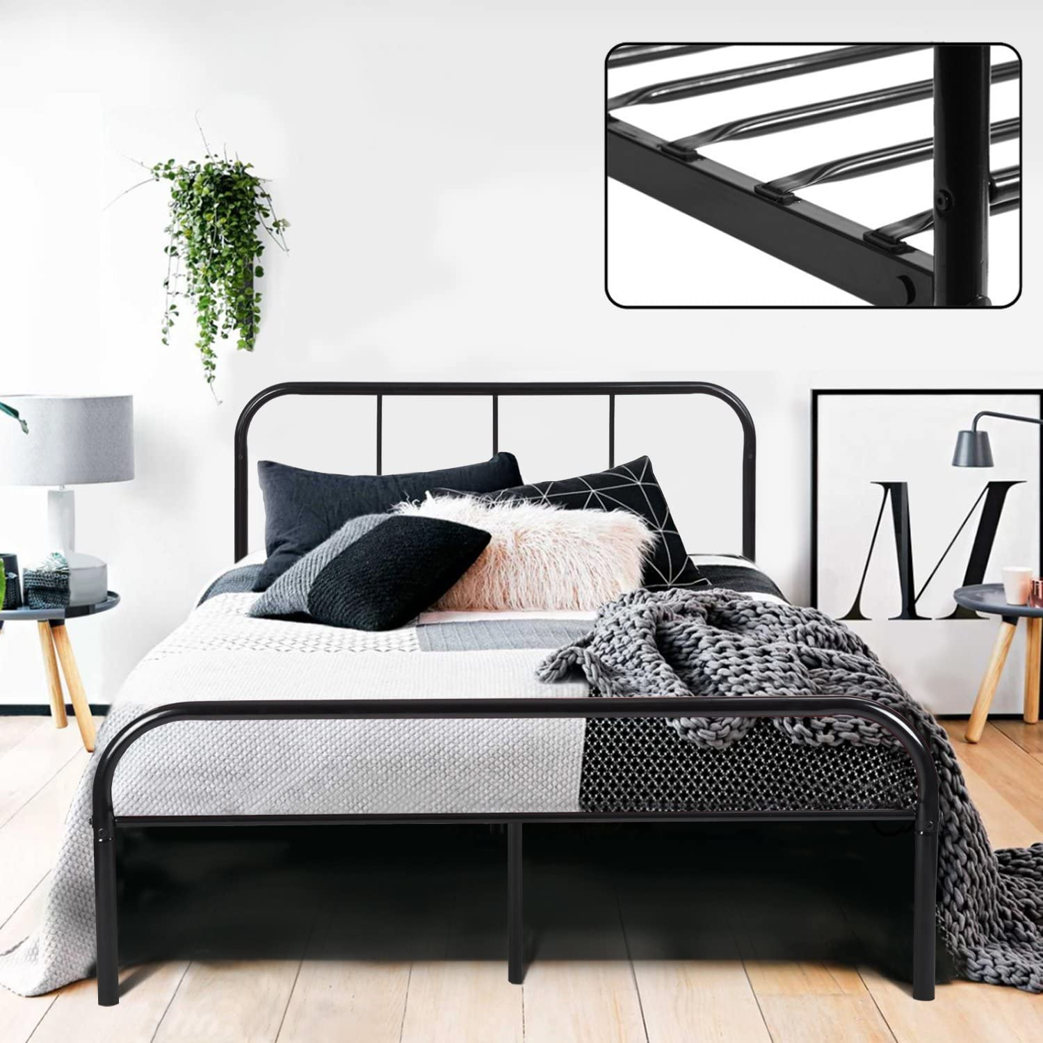 Coavas Double Bed Frame 4ft 6 Solid Bed Frame with 2 Headboard Metal Bed Frame Black fit 141  190 Matress For Adults, Teenagers