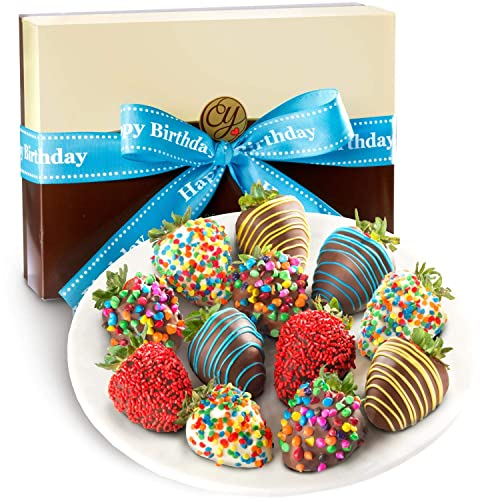 Golden State Fruit 12 Piece Happy Birthday Chocolate Covered Strawberries