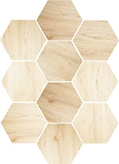 EZSpace 10Pcs 3D Wall Decorations Removable Wall Stickers Hexagon Fashion DIY Wall Mural, Anti-Skid Floor Sticker (Rose Wood)