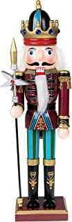 "Clever Creations Traditional King Nutcracker Collectible Wooden Christmas Nutcracker | Festive Holiday Decor | Maroon and Blue Embellished Uniform | Holding Tall Scepter | 100% Wood | 12"" Tall"
