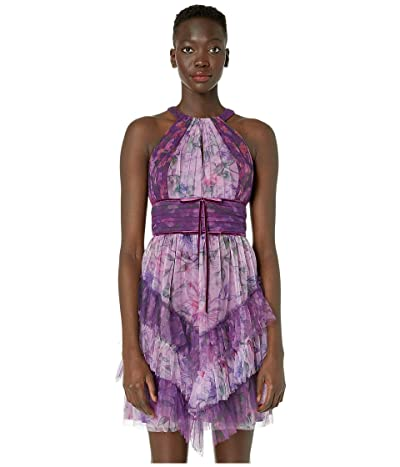 Marchesa Notte Sleeveless Color Blocked Printed Tulle Cocktail Skirt (Lilac) Women