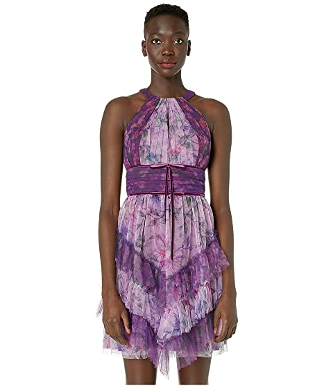 Marchesa Notte Sleeveless Color Blocked Printed Tulle Cocktail Skirt
