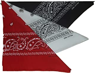 Bandana Foulard Paisley Noir Blanc 50x50cm 100/% coton