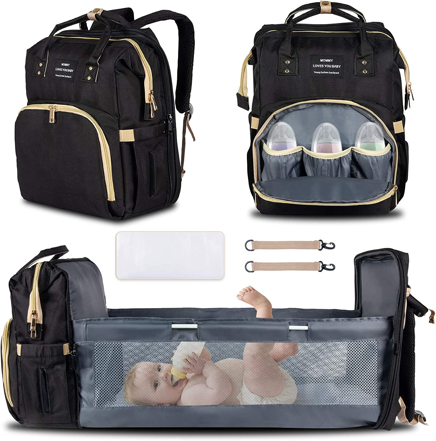 HONGTEYA 3 in 1 Diaper Bag Backpack with Changing Station Pad Baby Diaper Bag