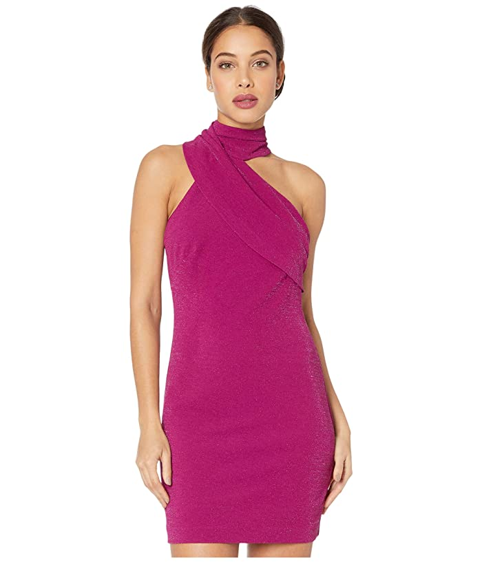 Badgley Mischka  Twinkle Crepe Fitted Asymmetrical Cocktail Dress (Magenta) Womens Clothing