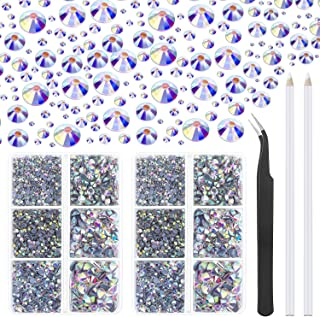 Cridoz Lot de 6040 strass à dos plat en cristal AB Hotfix 6 tailles mixtes pour travaux manuels avec pince à épiler et sty...